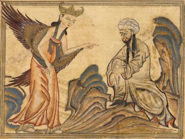 מוחמד פוגש את המלאך ג'יבריל (גבריאל) בהתגלות הראשונה שלו. מתוך כתב היד של רשיד אל-דין חמאדני, 1307. רישום: ויקיפדיה From the manuscript Jami' al-tawarikh by Rashid-al-Din Hamadani, 1307, Ilkhanate period.