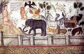 """""""אדם נותן שמות לחיות"""", ציור קיר ממנזר אגיוס ניקולאס במטאורה, יוון. צויר ב-1527 בידי Theophnes Strelizas"""