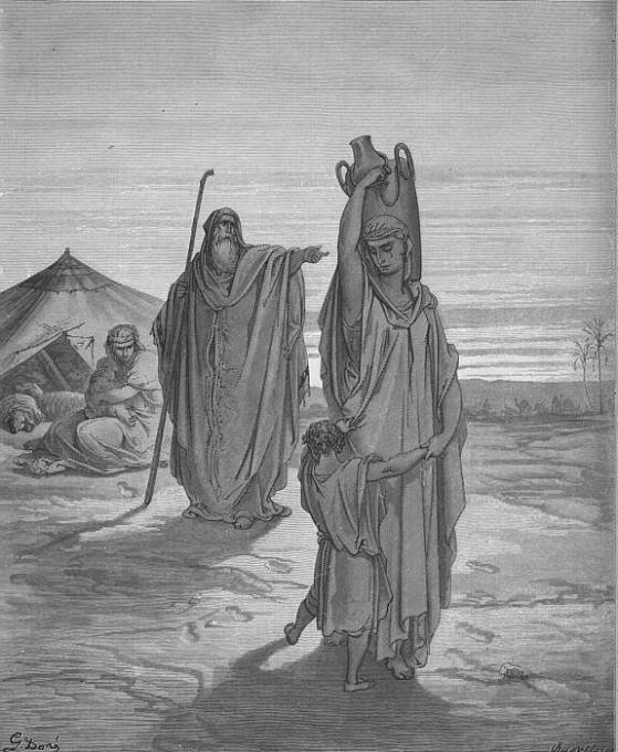 גירוש הגר וישמעאל. תחריט: גוסטב דורה, 1866